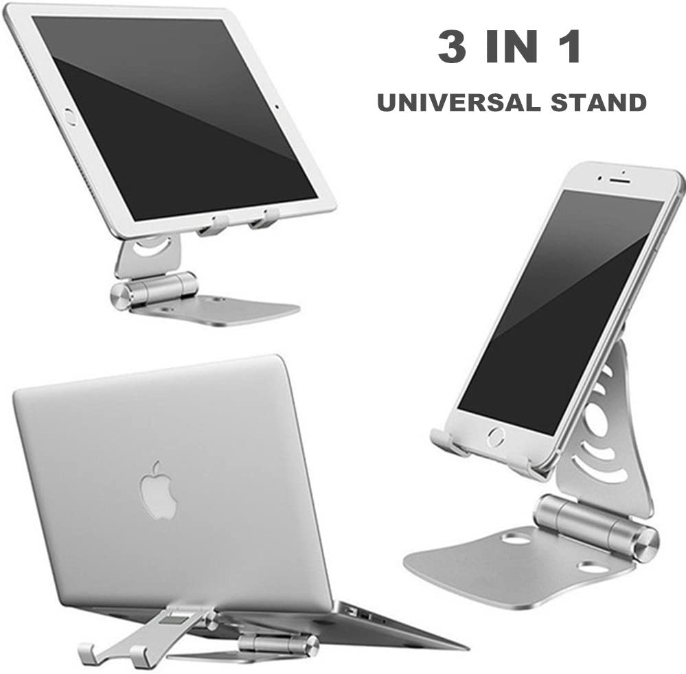 [3 in 1] Portable Foldable Adjustable Cell Phone Stand, Tablet Stand, Pasonomi Aluminum Cradle, Holder, Stand for iPhone, iPad, Tablets, Macbook, Laptops (Silver)