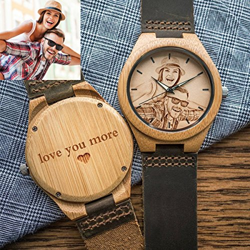 Personalized Engraved Wood Watch with Photo or Text for Groomsmen Gift Anniversary Wedding Gift (Brown, (Gift Wrapped Click Photo)