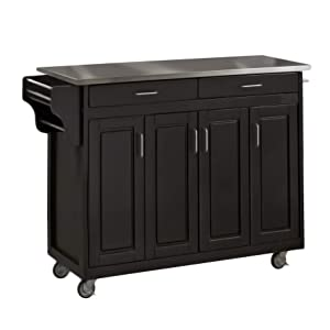 Create-a-Cart Black 4 Door Cabinet Kitchen Cart with Stainless Steel Top by Home Styles