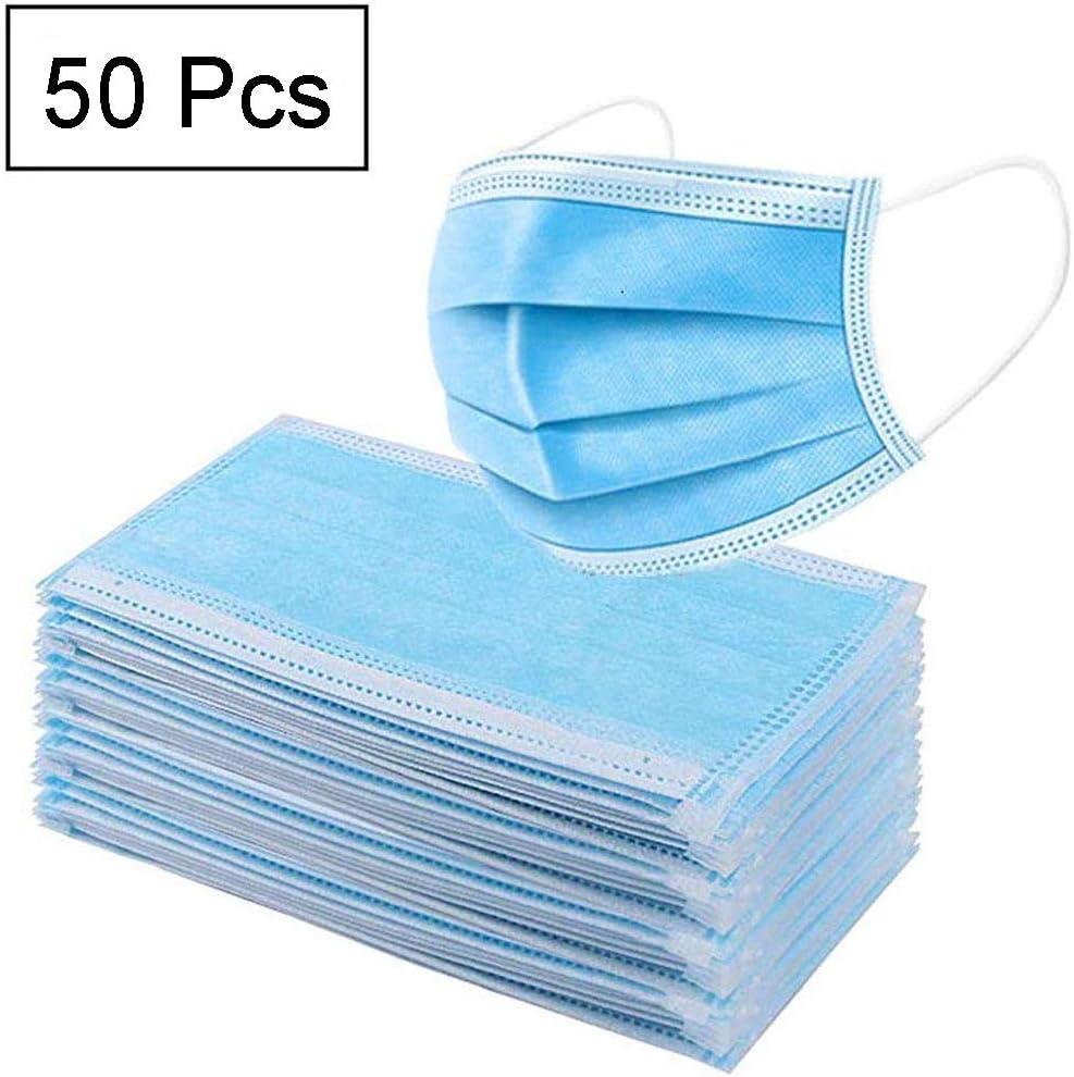YML Contaminación a Prueba de Polvo a Prueba de Media Cara Azul de 3 Capas Filtros de Aire con Filtro desechable Thin Pad Transpirable elástico bucles del oído Transpirable Nariz Boca Mujeres 50 PCS
