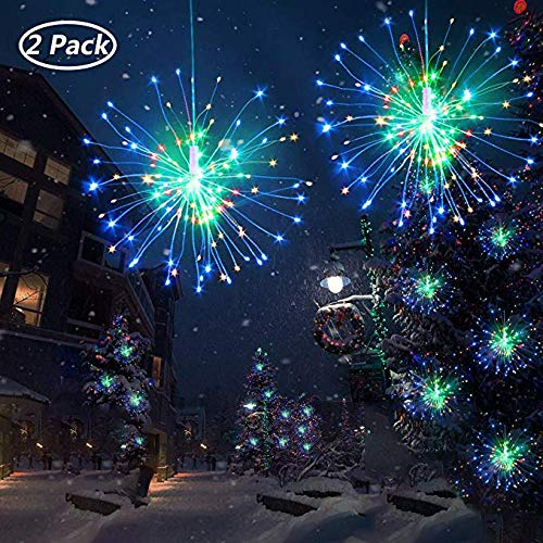 2 Pack Colorful LED Firework Copper Lights, Boomlight Starburst Light, Outdoor String Light,Fairy Twinkle Lights, Hanging Light, Waterproof with Remote Control for Bedroom,Wedding, Garden,Outdoor