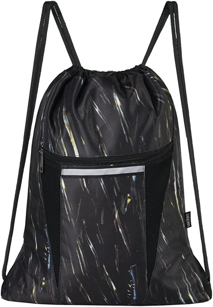Drawstring Backpack Stripes Gym Bag