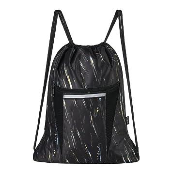70ab5e819652 Saigain Sport Gym Sack Large Drawstring Backpack Bag Sackpack with Zipper  for Men & Women (