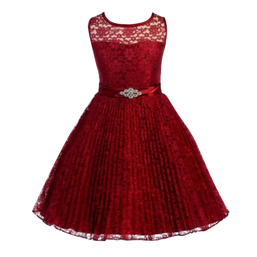 WAFUNNE Kids Girls Lace Dress with Accordion Pleats for Special Occasion Burgundy 8