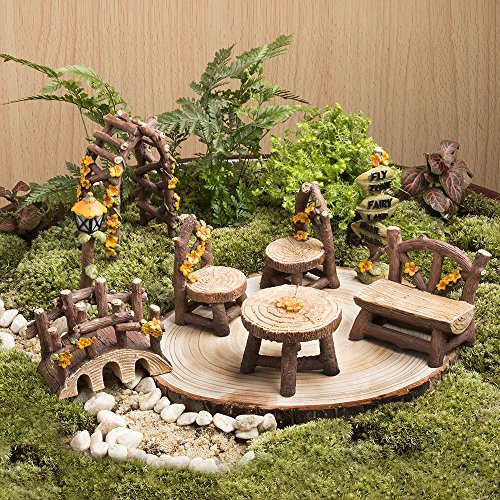 Edible Landscaping And Fairy Gardens: Tonsiki 8 Pcs Miniature Fairy Garden Furniture Accessories