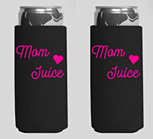 Mom Juice Mom Fuel Skinny Slim Tall Beer Can Cooler Beverage Insulators Holder for White Claw Truly Red Bull 12oz (Black)