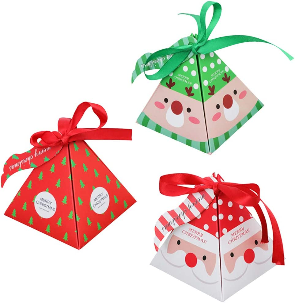 36 Pcs Candy Box Christmas Party Favor 36 Pcs Bow 36 Pcs Labels Diy Gift Cake Paper Boxes Packaging Xmas Party Treats Gift Party Dessert Cookie Packaging Festival Holiday Christmas