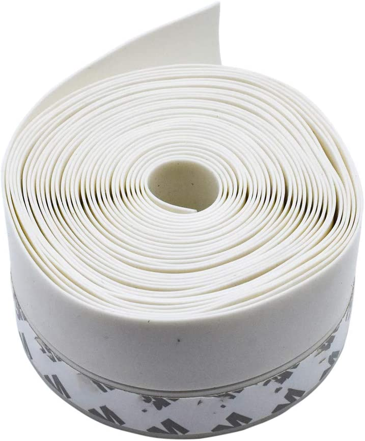 White Rubber Door Strip 45mm Width Window Doors Self Adhesive Weatherstrips 16 Feet Length for Wind Dust Draft  Insect Proof