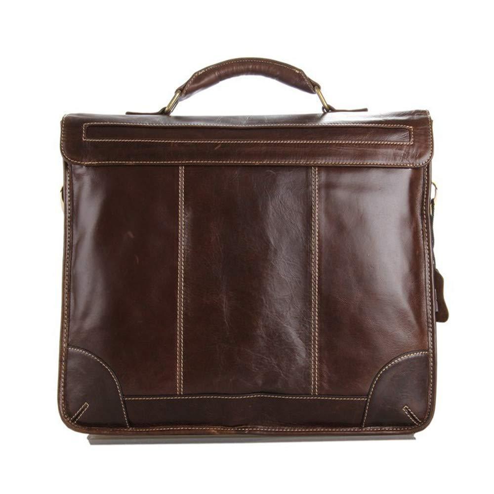 38x9x30.5cm Briefcase GLJJQMY Mens Bag Leather Shoulder Strap Shoulder Bag Business Briefcase Dark Brown