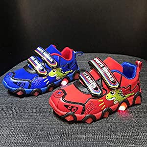 Sikye Kids LED Light up Shoes for Boys Girls Cartoon Dinosaur Paw LED Luminous Sneaker Casual Running Shoe