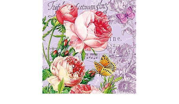 20 Servilletas rosas flores Cumpleaños Vintage Flor Diseño ...