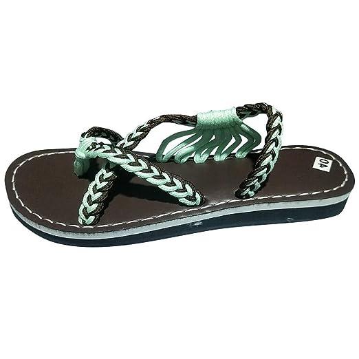 ecf913b9366c Amazon.com  ASERTYL shoes Women s Flat Sandals Hiking Flip Flops Hemp Rope  Slippers Beach Shoe  Clothing