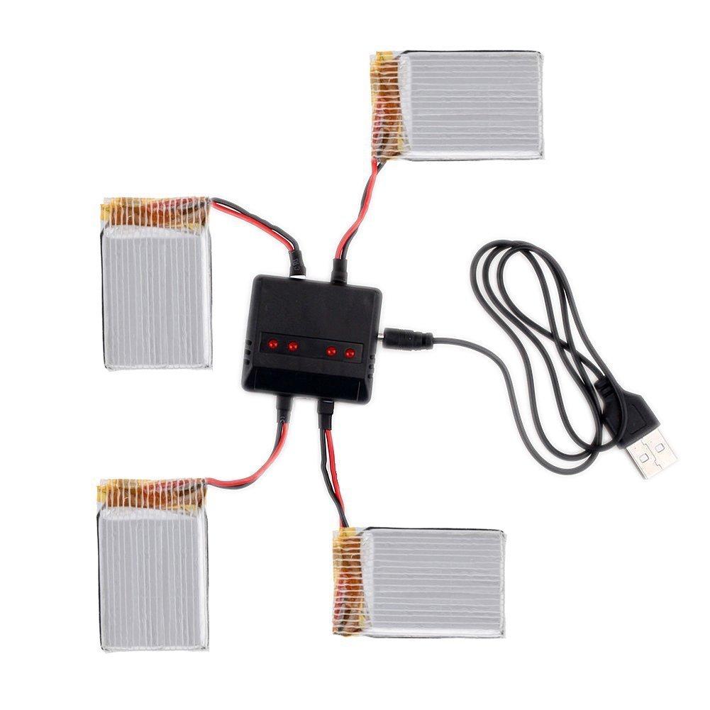 MPTECK @ 4X bater/ía lipo de repuesto 3,7V 600mAh con 4 en 1 cargador para RC cuadric/óptero Syma X5 x5C x5C-1 X5SC X5SW Drone