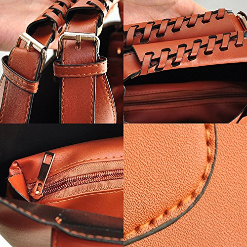 Womens Totes Shopping Hobo Celebrity Shopper Brown TOOGOO R Plaited Style Bag Bucket Shoulder 0qEx58wx