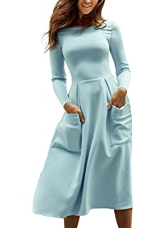Podlily Women Casual Long Sleeve Solid Skater Flare Swing Midi Dress with  Pockets 11149c2ae