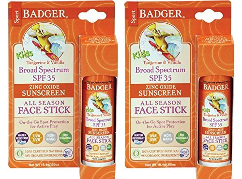 Badger SPF 35 Kids Sport Sunscreen Face Stick  with Olive Oil, Beeswax, Cocoa Seed Butter, Shea Butter, Sweet Orange Peel Oil, Vanilla Extract and Non