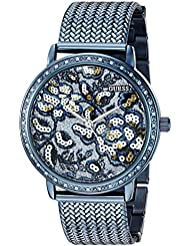 GUESS Womens U0822L3 Trendy Blue Watch with Blue Dial , Crystal-Accented Bezel and Mesh G-Link Band