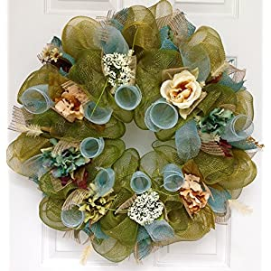 New, Large, Premium Shimmering Floral Deco Mesh Handmade Wreath 12