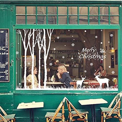 zhuziji Decoraciones navideñas Forest Snowflake Elk Pegatinas de ...