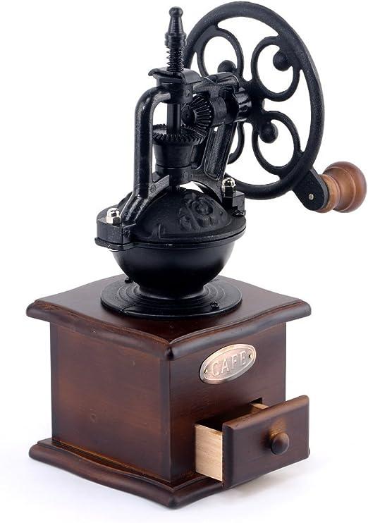 Ceramic Decor Coffee Bean Grinder Hand Maker Vintage Style Brown Wooden