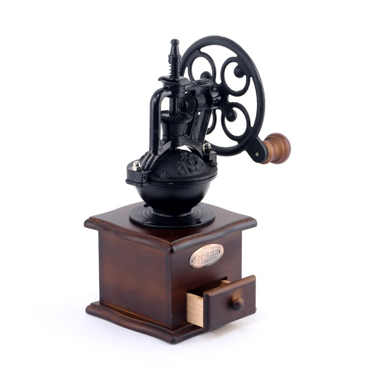 Foruchoice Manual Coffee Grinder Antique Cast Iron Hand Crank Coffee Mill With Grind Settings & Catch Drawer 12.5 x 12.5 x 26 cm by Foruchoice