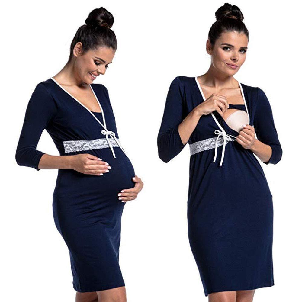 2 en 1 Vestido de Maternidad de Lactancia Pijamas Maternidad de enfermer/ía camis/ón de algod/ón