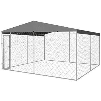 vidaXL Perrera de Exterior con Techo 4x4 m Acero Galvanizado 16 m² Jaula Perro: Amazon.es: Productos para mascotas