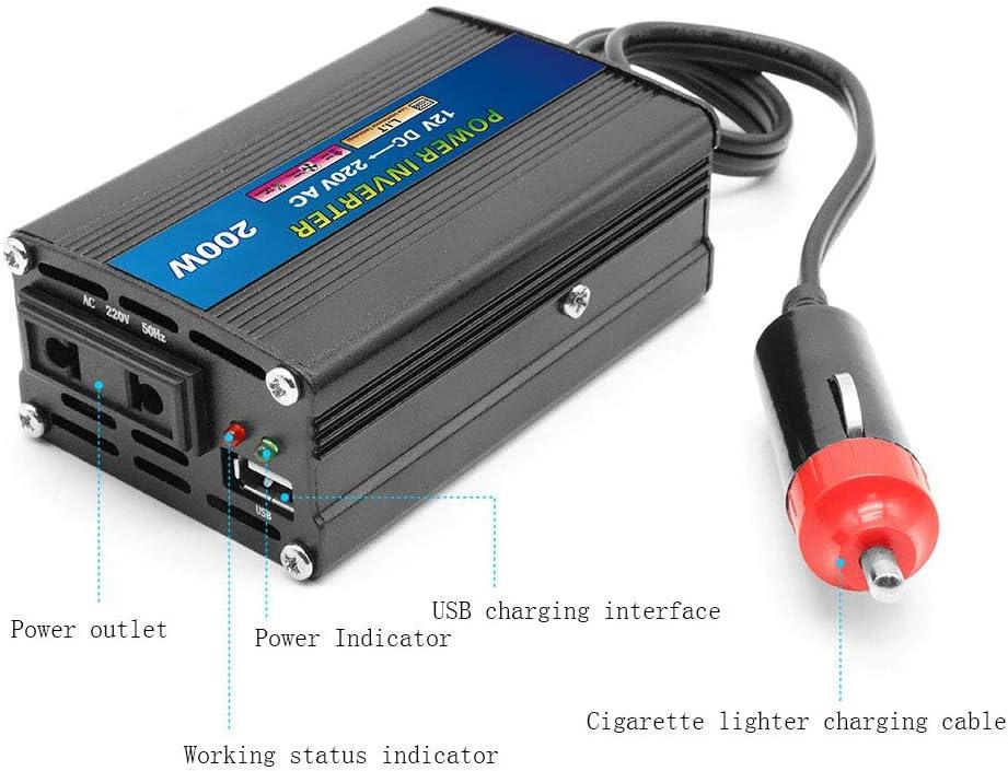 24V to 110V AC Car Converter with 4.2A Single USB Pure Sine Wave Car Adapter Charger Thinner Design Black,24v MTSBW 200W Power Inverter DC 12V