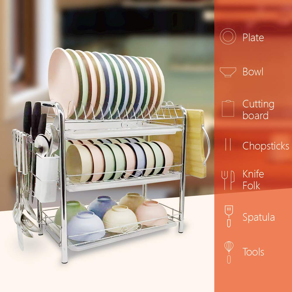 Dish Drying Rack,Stainless Steel 3 Tier Dish Rack Dish Drainer Kitchen Storage Organization with Removable Drain Board,Cutlery Drying Basket,Cutting Board Holder