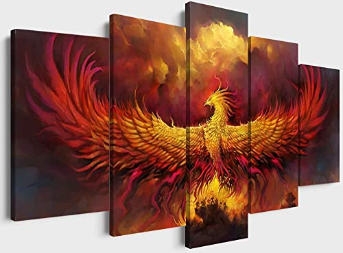YOUHONG Modern Bird Wall Art 5 Piece Cool Burning Phoenix Painting Prints Canvas Artwork Framed Ready to Hang