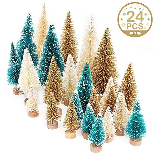 AerWo 24PCS Artificial Mini Christmas Trees, Sisal Trees with Wood Base Bottle Brush Trees for Christmas Table Top Decor Winter Crafts Ornaments Green, Gold and Ivory -