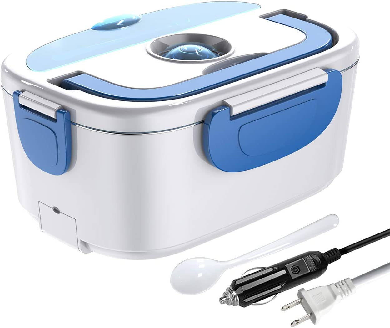 ErayLife Electric Lunch Heating Box, 2 in 1 Meal Heating Box 110V 12V, 1.5L Stainless Steel Container Removable,Spoon Included. Suitable for Car/Office/Picnic (Blue)