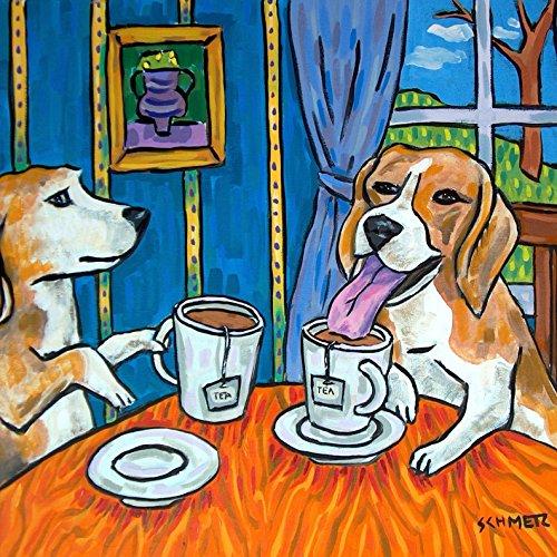 Beagle Tea Time dog art tile coaster -