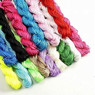 HYBEADS 10Colors Assorted 270 Yard 1.0MM Chinese Knotting Cord Nylon Shamballa Macrame Thread Beading Cord for Shamballa beads