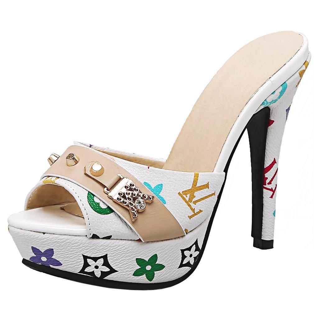 AIYOUMEI Damen High Heels Plateau Pantoletten mit Blumen Stiletto Sandalen Slipper Mules High Heels  38 EU Wei?