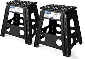 Acko Folding Step Stool - 18 inch Height Premium Heavy Duty Foldable Stool for Adults, Kitchen Garden Bathroom Stepping Stool Black 2 Pack