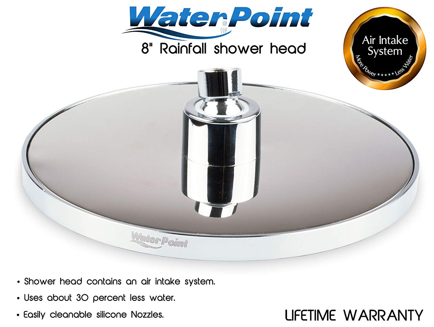 WaterPoint 8 Inch Rain Shower Head, Best High Pressure Rainfall Showerhead with Brass Swivel Ball, Polished Chrome, Uses 30% Less Water