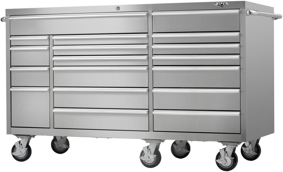 Viper Tool Storage VP7218BL 72-Inch 18-Drawer 18G Steel Rolling Tool Cabinet Black