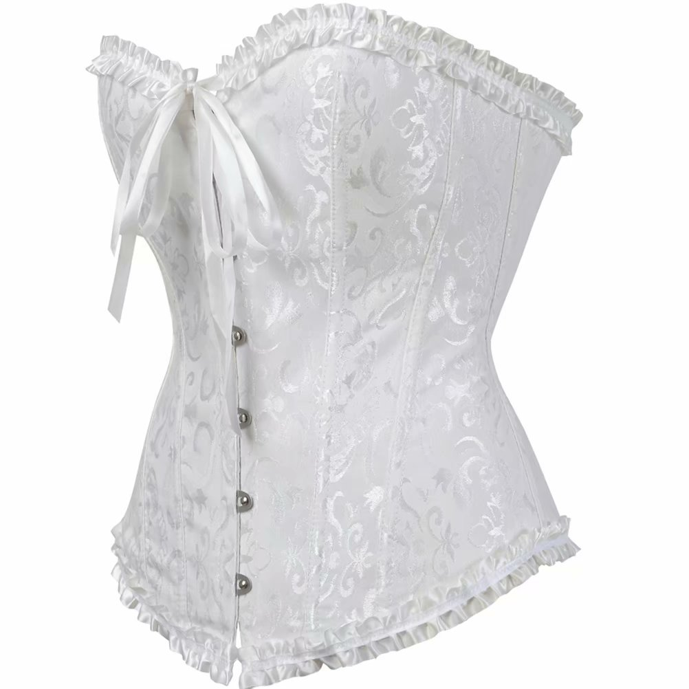 0ca39d51db5 Women s Corset Bustier Overbust Satin Floral Lace up Trim Plus Size  Bodyshaper Top at Amazon Women s Clothing store