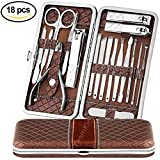 Teamkio Manicure Pedicure Set Nail Clippers Travel Hygiene Stainless Steel Professional Nail Cutter Care Set Scissor Tweezer Knife Ear Pick Utility Tools Grooming Kits with Leather Case (18pcs, Brown)