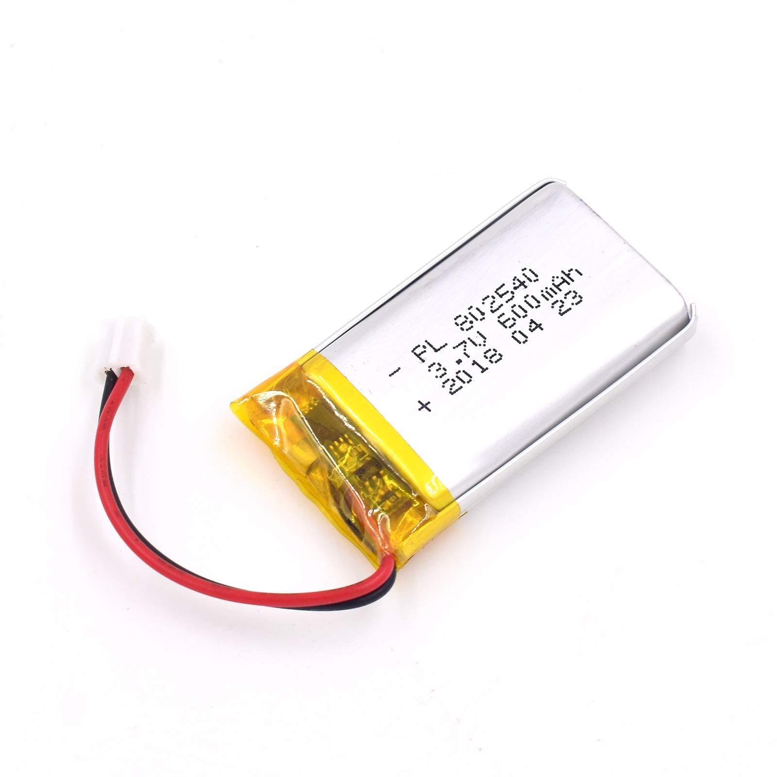 Bateria Lipo 3.7V 600mAh 802540 Recargable JST Conector