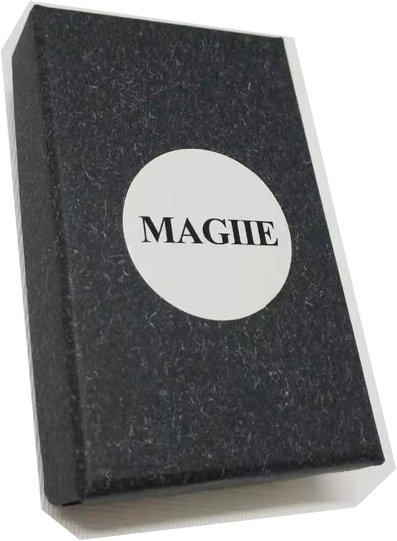 MAGIIE Fantaisie Bijoux Bague Femme Bague Homme en Acier Miroir Inoxydable Bague Couple pour Anniversaire Mariage Amoureux Argent Noir