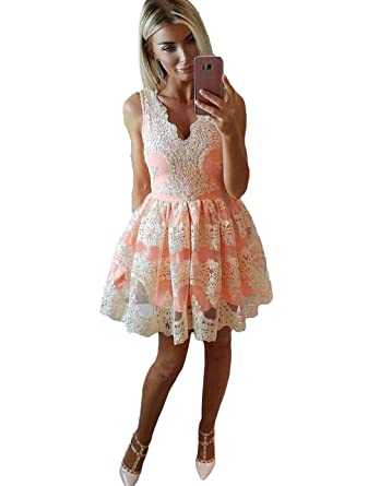 Dressesonline Womens V Neck A Line Short Lace Homecoming Prom Dresses US2