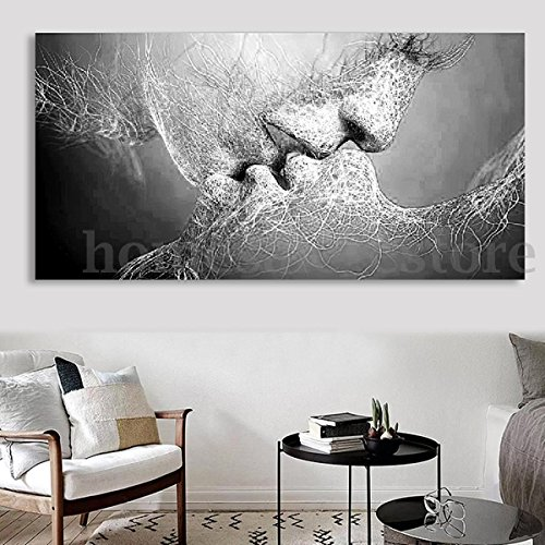 TONGROU Black & White Love Kiss Abstract Art on Canvas Painting Wall Art Picture - Light City Michigan House