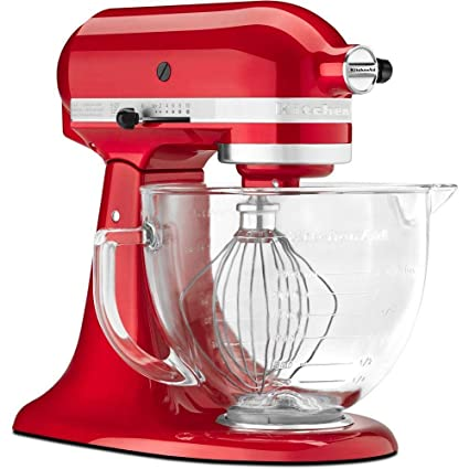 Kitchenaid 5 Quart Stand Mixer Glass Bowl Candy Apple Red
