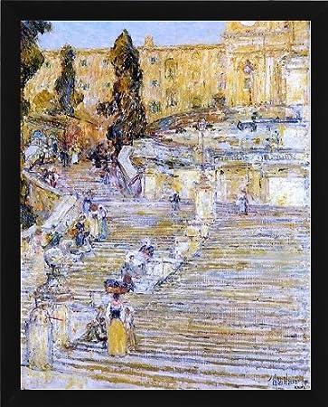 Awesome Frederick Childe Hassam Spanish Steps Rome   20.1u0026quot; X 25.1u0026quot; Framed  Premium ...