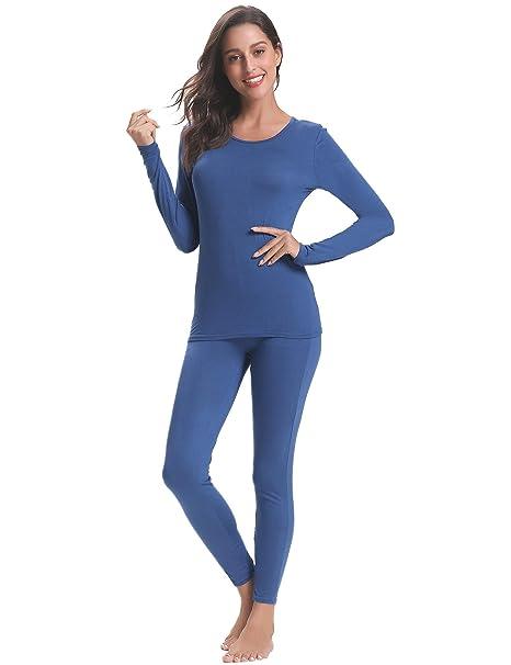 Aibrou Conjuntos térmicos Mujer Pijamas Invierno Interior Caliente Algodon,2 Piezas