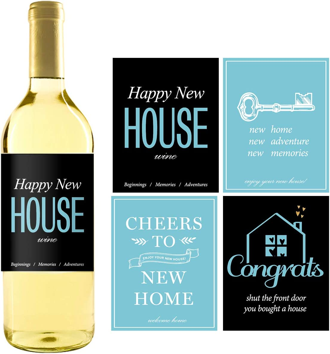 8 Rustic House Warming Presents, New Homeowner Stickers or Wine Label Gift Set Ideas, Housewarming Gifts For New Home, Real Estate Gifts from Agent for Client Congratulations