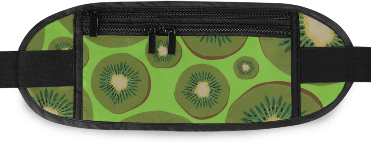 Handdrawn Kiwi Fruits On Green Running Lumbar Pack For Travel Outdoor Sports Walking Travel Waist Pack,travel Pocket With Adjustable Belt