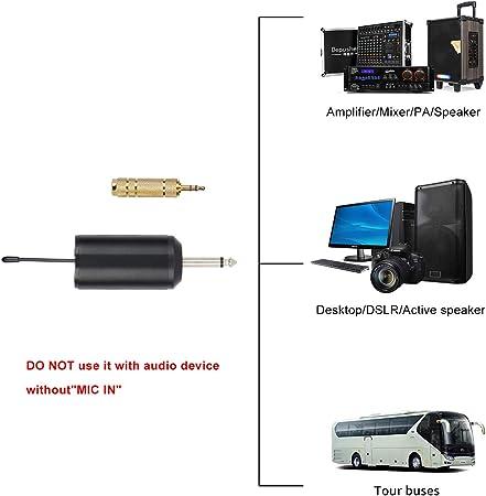 Depusheng Syst/ème sans fil avec micro-casque//Transmetteurs de micro-cravate et de cravate Lavalier Lapel et mini-r/écepteur 1//4pour l/école//Performances//Webcast